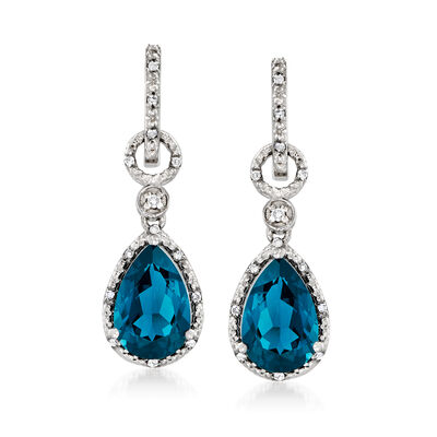 7.24 ct. t.w. London Blue Topaz and .16 ct. t.w. Diamond Drop Earrings in Sterling Silver