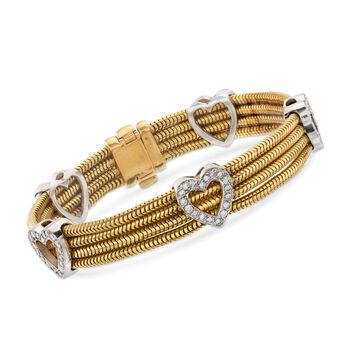 "C. 1990 Vintage 1.80 ct. t.w. Diamond Heart Station Bracelet in 18kt Two-Tone Gold. 7"", , default"
