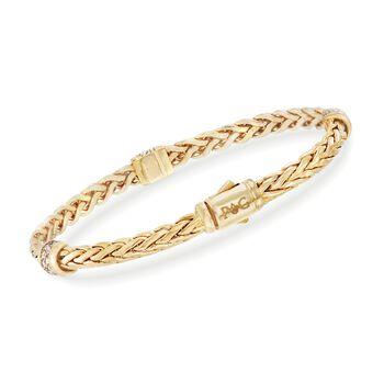 "Phillip Gavriel ""Woven Gold"" .30 ct. t.w. Pave Diamond Station Link Bracelet in 14kt Yellow Gold. 7.5"", , default"