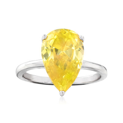 Yellow CZ Ring in Sterling Silver, , default