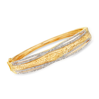 .25 ct. t.w. Diamond Bangle Bracelet in 18kt Gold Over Sterling