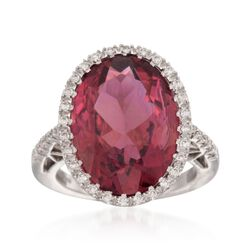 14.99 Carat Pink Tourmaline and .23 ct. t.w. Diamond Ring in 18kt White Gold, , default