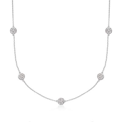 .80 ct. t.w. CZ Station Necklace in Sterling Silver, , default