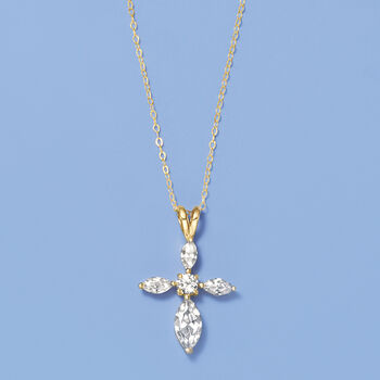 2.00 ct. t.w. Marquise and Round CZ Cross Pendant Necklace in 14kt Yellow Gold