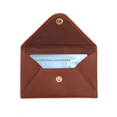 Royce Tan Leather Three-Initial Envelope-Style Business Card Holder