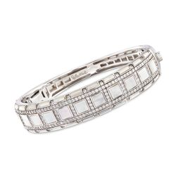 "Belle Etoile ""Regal"" Mother-Of Pearl and 3.00 ct. t.w. CZ Bangle Bracelet in Sterling Silver. 7"", , default"