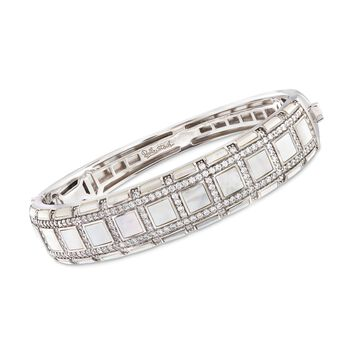 """Belle Etoile """"Regal"""" Mother-Of Pearl and 3.00 ct. t.w. CZ Bangle Bracelet in Sterling Silver. 7"""", , default"""
