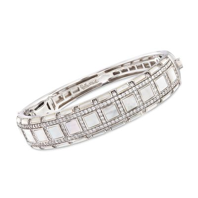 "Belle Etoile ""Regal"" Mother-Of Pearl and 3.00 ct. t.w. CZ Bangle Bracelet in Sterling Silver, , default"