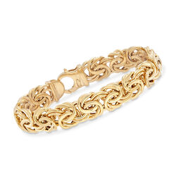 Italian 14kt Yellow Gold Wide Byzantine Bracelet, , default