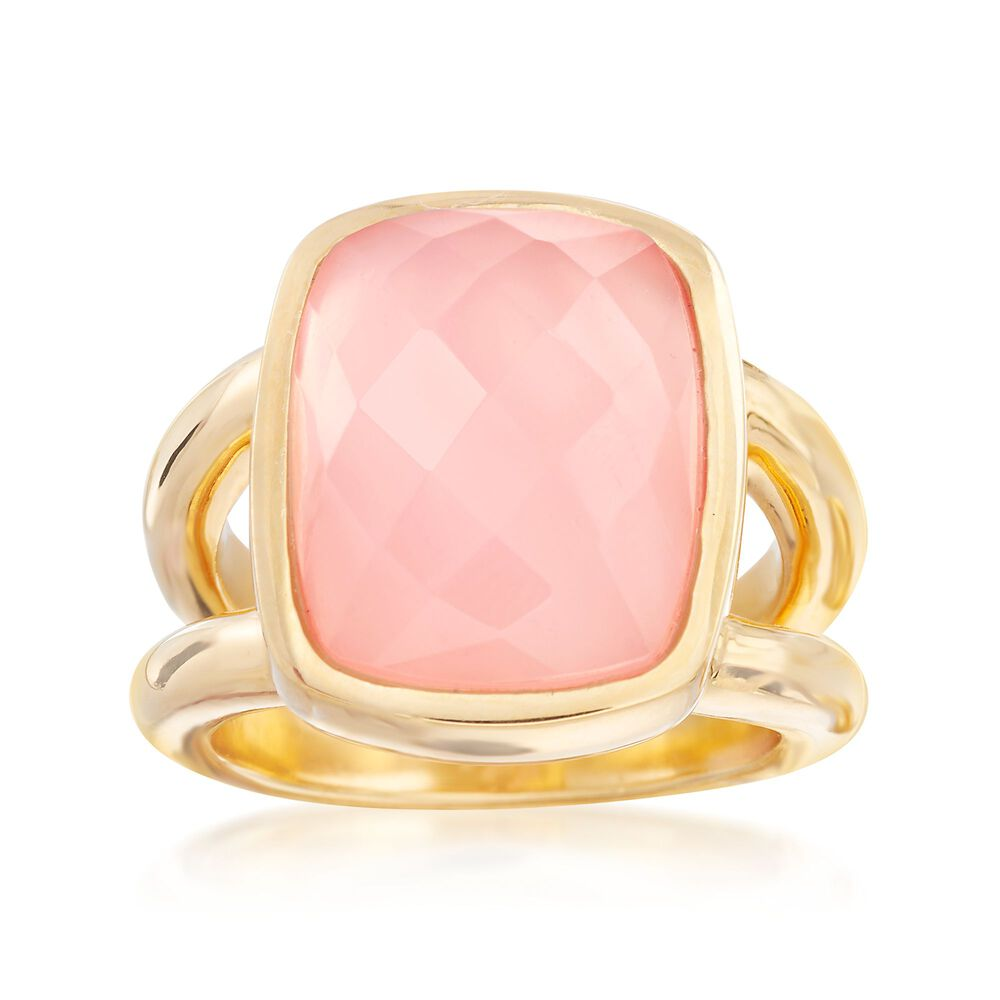 5cf426535 Pink Chalcedony Ring in 18kt Yellow Gold Over Sterling Silver. Size 9, ,  default
