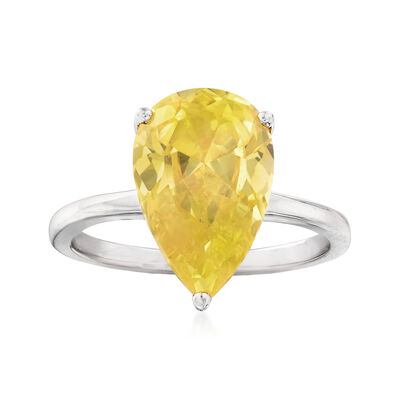 4.00 ct. t.w. Yellow CZ Ring in Sterling Silver