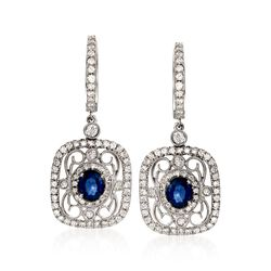 Simon G. .82 ct. t.w. Sapphire and .78 ct. t.w. Diamond Drop Earrings in 18kt White Gold, , default