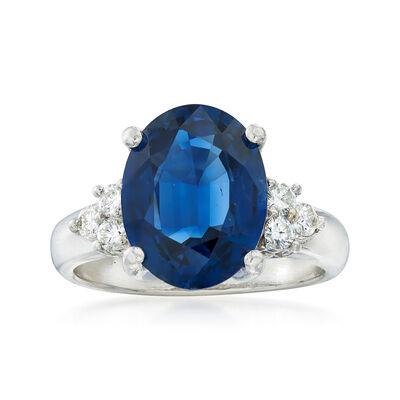 C. 1990 Vintage 3.67 Carat Sapphire and .20 ct. t.w. Diamond Ring in Platinum, , default