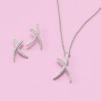 .15 ct. t.w. Diamond X Earrings in Sterling Silver , , default