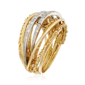 C. 1980 Vintage .20 ct. t.w. Diamond Highway Ring in 18kt Yellow Gold. Size 6.5, , default