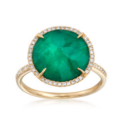 Emerald Triplet and .18 ct. t.w. Diamond Ring in 14kt Yellow Gold, , default