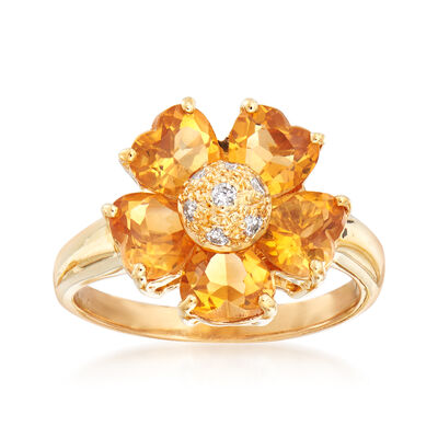 C. 1990 Vintage 1.75 ct. t.w. Citrine Floral Ring with Diamond Accents in 18kt Yellow Gold, , default