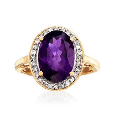 3.90 Carat Amethyst and .21 ct. t.w. Diamond Ring in 14kt Yellow Gold