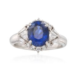 C. 1990 Vintage 3.04 Carat Sapphire and .58 ct. t.w. Diamond Ring in Platinum. Size 6.5, , default