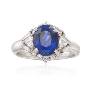C. 1990 Vintage 3.04 Carat Sapphire and .58 ct. t.w. Diamond Ring in Platinum. Size 6.5, , default