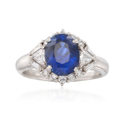 C. 1990 Vintage 3.04 Carat Sapphire and .58 ct. t.w. Diamond Ring in Platinum, , default