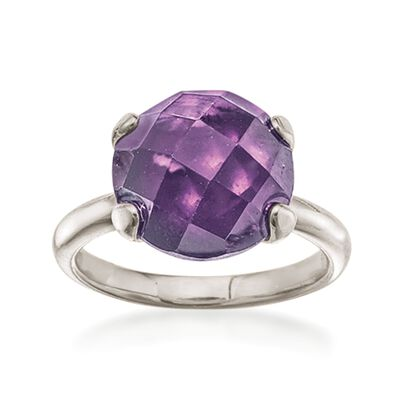 Italian 6.00 Carat Amethyst Ring in Sterling Silver , , default