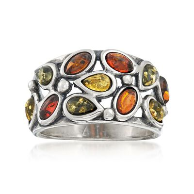 Oval and Pear-Shaped Tonal Amber Cluster Ring in Sterling Silver, , default