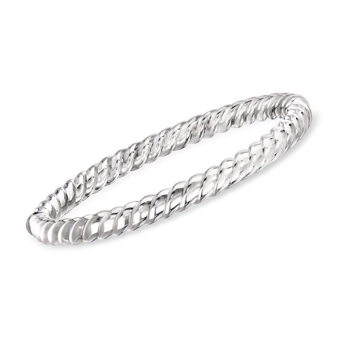 "Phillip Gavriel ""Italian Cable"" Twisted Bangle Bracelet in Sterling Silver. 7"""