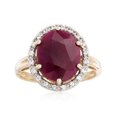 6.00 Carat Ruby and .20 ct. t.w. White Sapphire Ring in 14kt Yellow Gold, , default