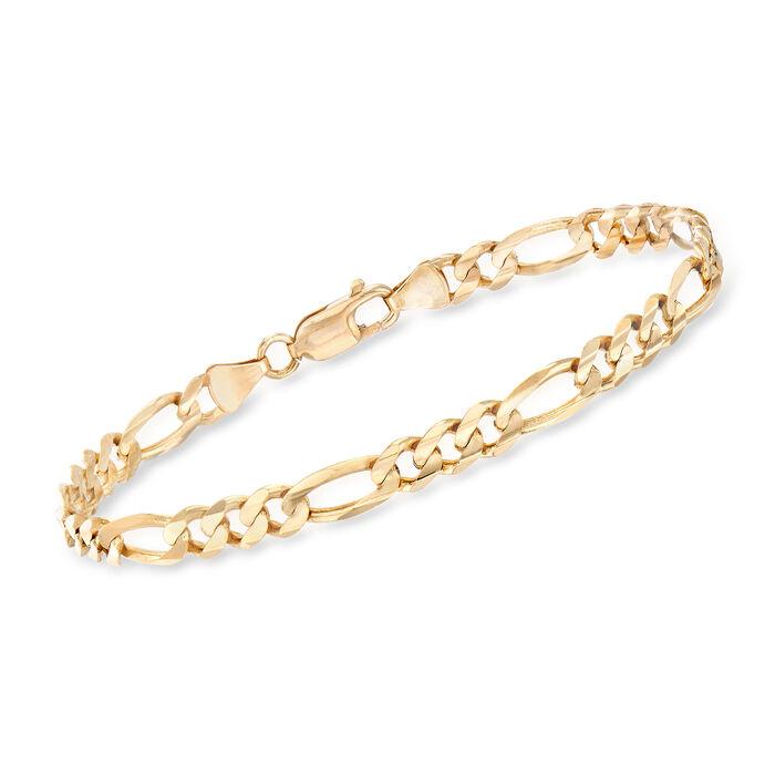 "C. 1990 Vintage 14kt Yellow Gold Figaro Chain Bracelet. 8"", , default"