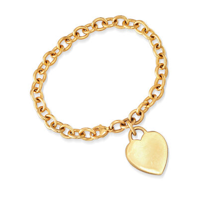 C. 1990 Vintage Tiffany Jewelry Heart Charm Bracelet in 18t Yellow Gold, , default