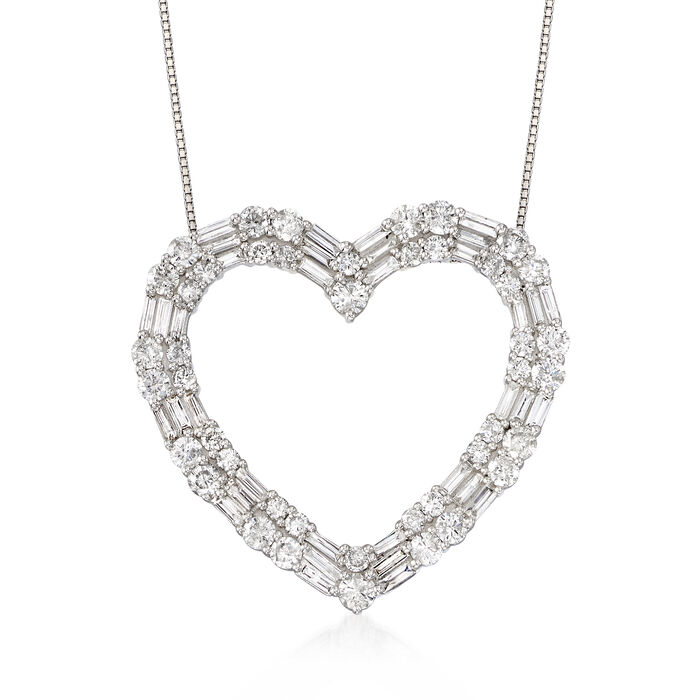 3.00 ct. t.w. Round and Baguette Diamond Open Heart Necklace in 14kt White Gold, , default