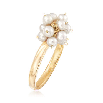 3-3.5mm Cultured Pearl Cluster Ring in 14kt Yellow Gold