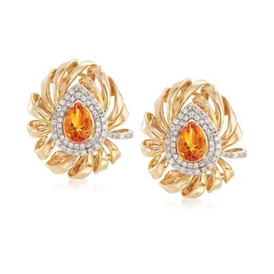 1.40 ct. t.w. Citrine and .37 ct. t.w. Diamond Drop Earrings in 14kt Yellow Gold , , default
