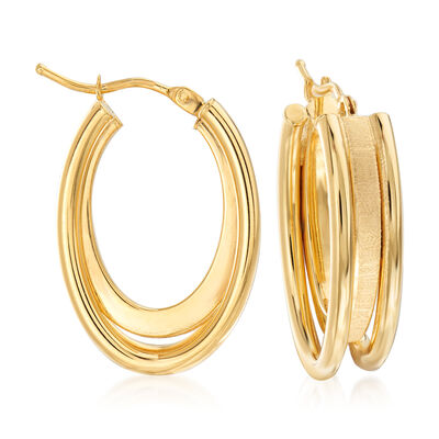 Italian 18kt Yellow Gold Triple-Hoop Earrings