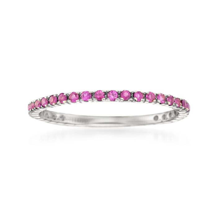 .33 ct. t.w. Ruby Eternity Band in 14kt White Gold. Size 5, , default