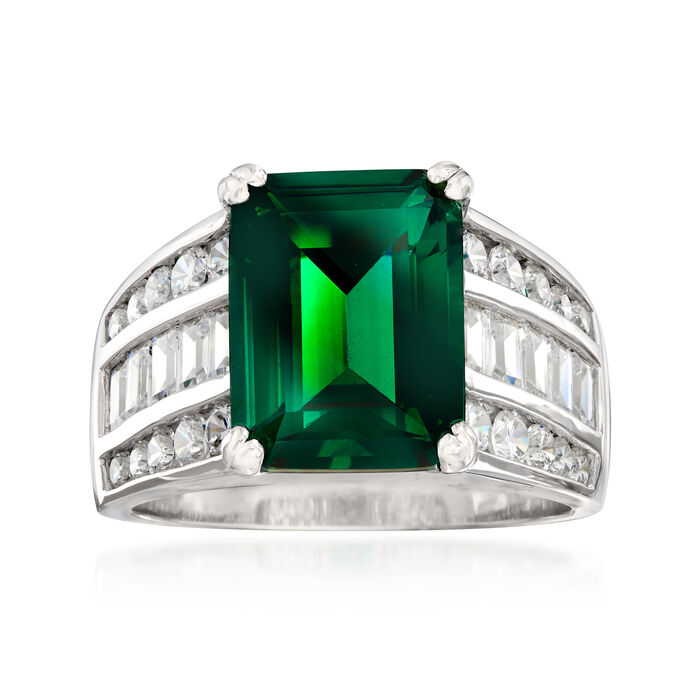 5.10 Carat Simulated Emerald and 1.20 ct. t.w. CZ Ring in Sterling Silver, , default