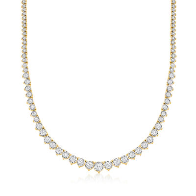 5.00 ct. t.w. Diamond Graduated Tennis Necklace in 18kt Gold Over Sterling