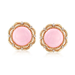 Pink Opal and .12 ct. t.w. Diamond Scalloped Earrings in 14kt Yellow Gold, , default