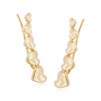 14kt Yellow Gold Heart Ear Climbers