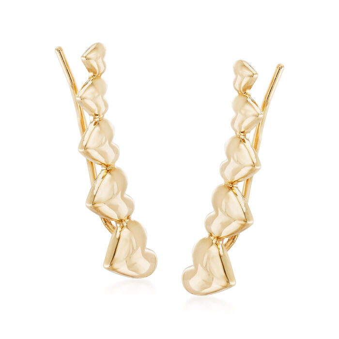 14kt Yellow Gold Heart Ear Climbers, , default