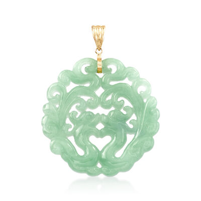 Carved Jade Phoenix Pendant with 14kt Yellow Gold