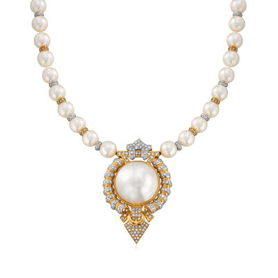 C. 1980 Vintage Mabe Pearl, Cultured Pearl and 3.00 ct. t.w. Diamond Necklace in 18kt Two-Tone Gold