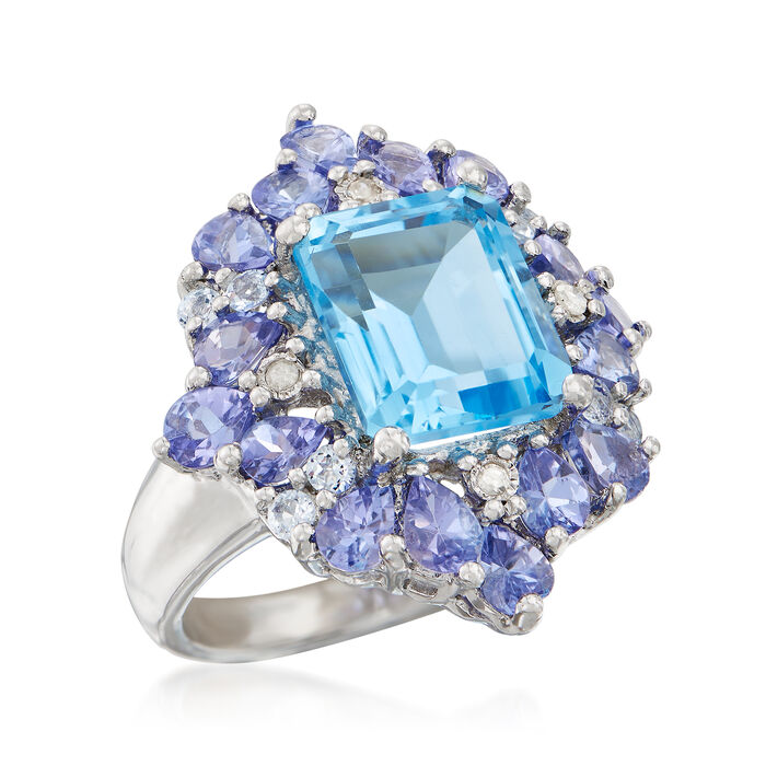 5.45 ct. t.w. Sky Blue Topaz and 2.20 ct. t.w. Tanzanite Ring with Diamond Accents in Sterling Silver