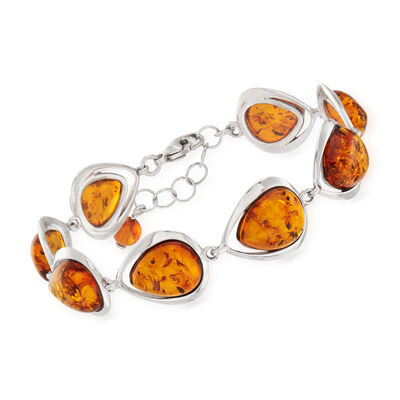 Amber Station Bracelet in Sterling Silver