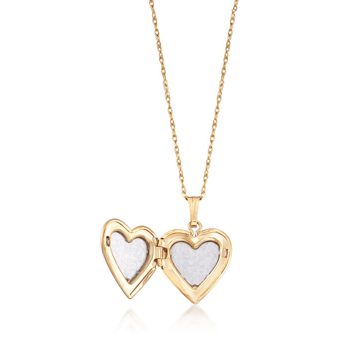 Child's 14kt Tri-Colored Gold Floral Cross Heart Locket Necklace