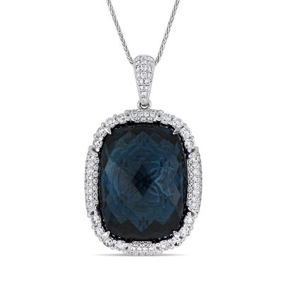 22.00 Carat London Blue Topaz and 1.23 ct. t.w. Diamond Pendant Necklace in 14kt White Gold