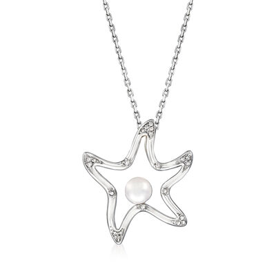 5mm Cultured Pearl Starfish Pendant Necklace with Diamond Accents in Sterling Silver