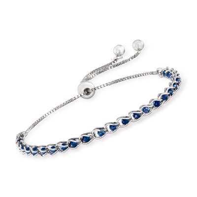 Italian Simulated Sapphire Bead Bolo Bracelet in Sterling Silver