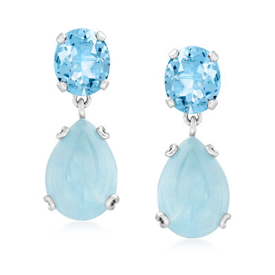 20.00 Carat Milky Aquamarine and 11.00 ct. t.w. Sky Blue Topaz Drop Earrings in Sterling Silver